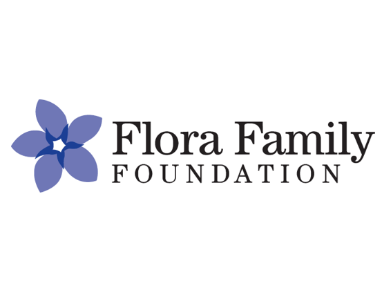 Flora Family Foundation Logo Of A Blue Five Petaled Flower Next To Black Text