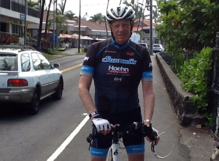 Pancreatic cancer patient Mike Levine is on his bicycle during a training session for the Ironman Triathlon.