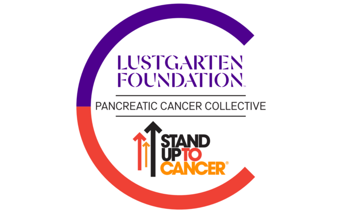 Pancreatic Cancer Collective joining the Lustgarten logo and the Stand Up To Cancer logo