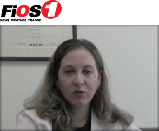 Red and black FiOS1 logo and photo of Dr. Allyson Ocean