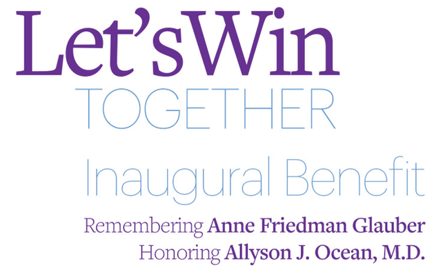 Let's Win Together Inaugural Benefit invitation with purple and blue lettering on a white background