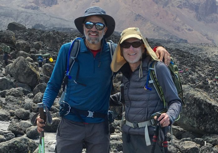 Dr. Malcolm Bilimoria (left) and pancreatic cancer survivor Kenneth Brown on Mt. Kilimanjaro