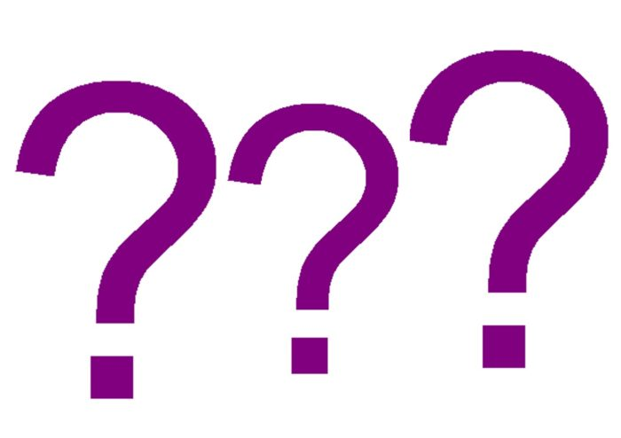 purple question marks on a white background