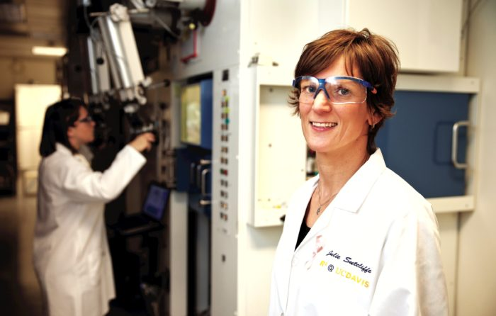 researcher Julie Sutcliffe in her lab