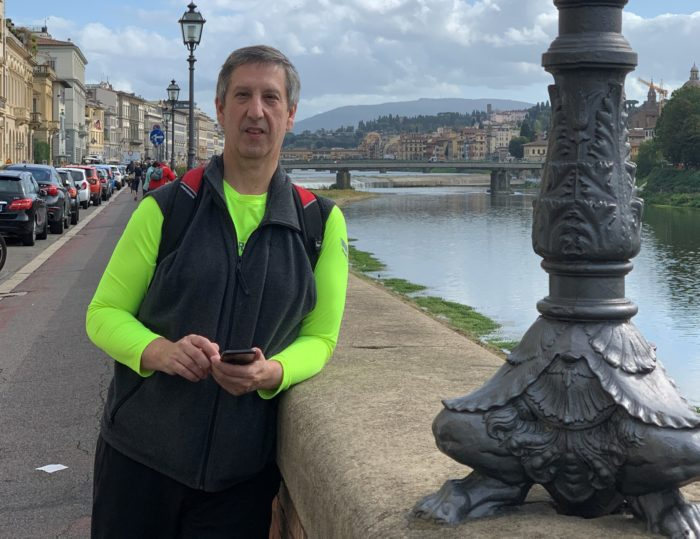 Pancreatic cancer patient Robert Weker in Florence, Italy, along the river