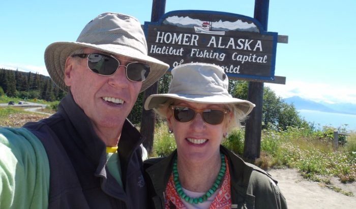 Pancreatic cancer survivor Gary Carmichael and his wife Floy on their trip to Alaska after