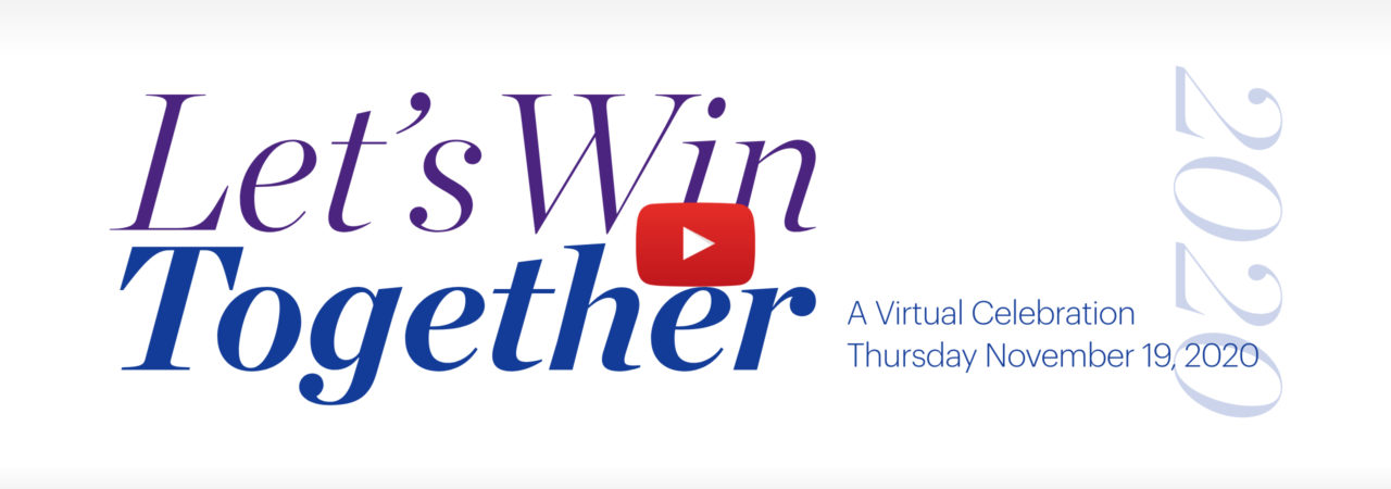 2020 Virtual benefit cover image with purple and blue logo and red YouTube icon
