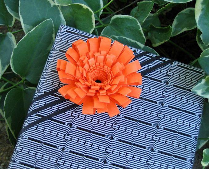Fringed Paper Flower Gift Bow