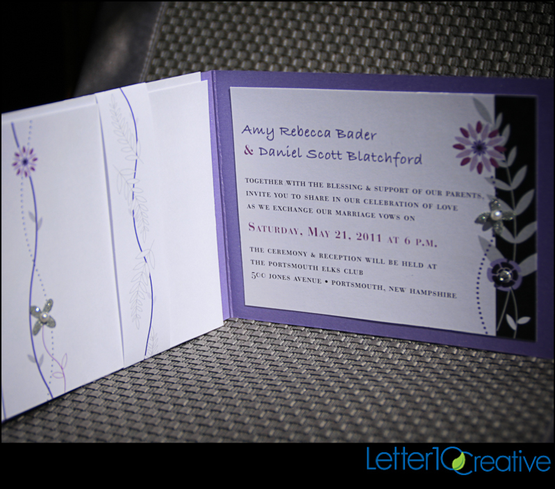 Purple Black Bling Wedding Invitations By Vermont Graphic Designer Letter10 Creative