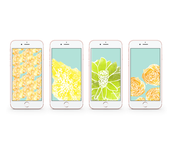 Mockups of lockscreens with watercolor flowers