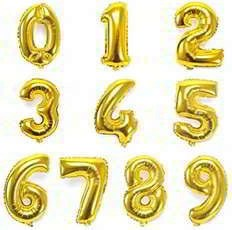 16 Inch Gold 0-9 Number Foil Mylar Balloons