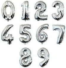 16 Inch Silver Number Balloons