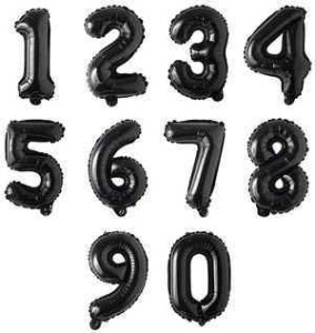 16 Inch Black Number and Letter BalloonsInch Black Number Balloons