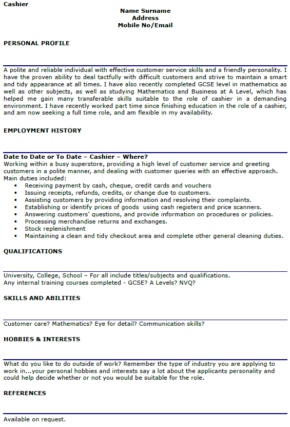 Cashier CV Example And Template
