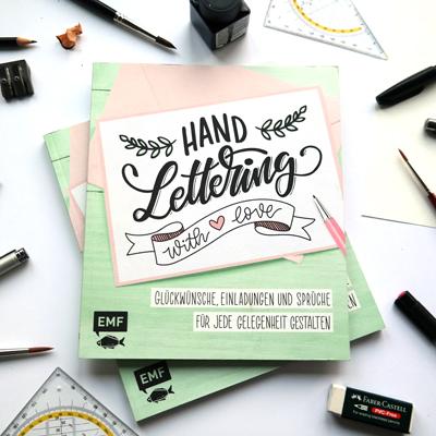 """Das Buch Vorderseite """"handlettering with love"""" hand lettering mit Liebe vom emf verlag mit Martina Johanna"""