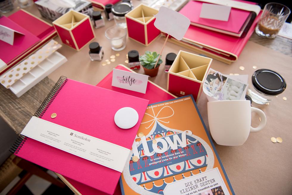 Lettering Workshop in Hamburg, Die Goodies auf dem Tisch.