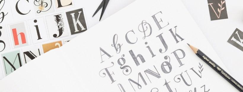 Handlettering gezeichnete Buchstaben im Skizzenbuch