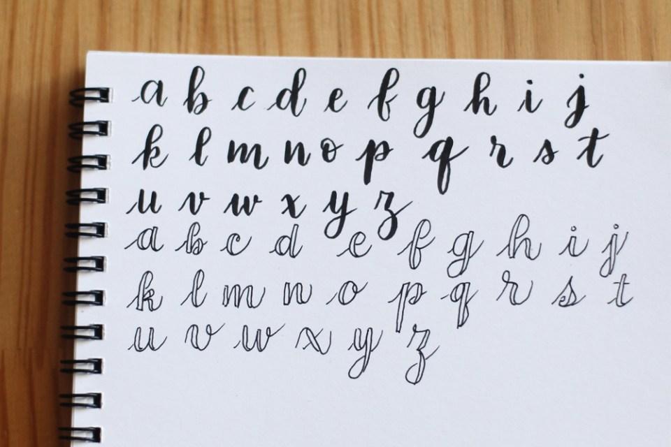 alphabet complet en fausse calligraphie
