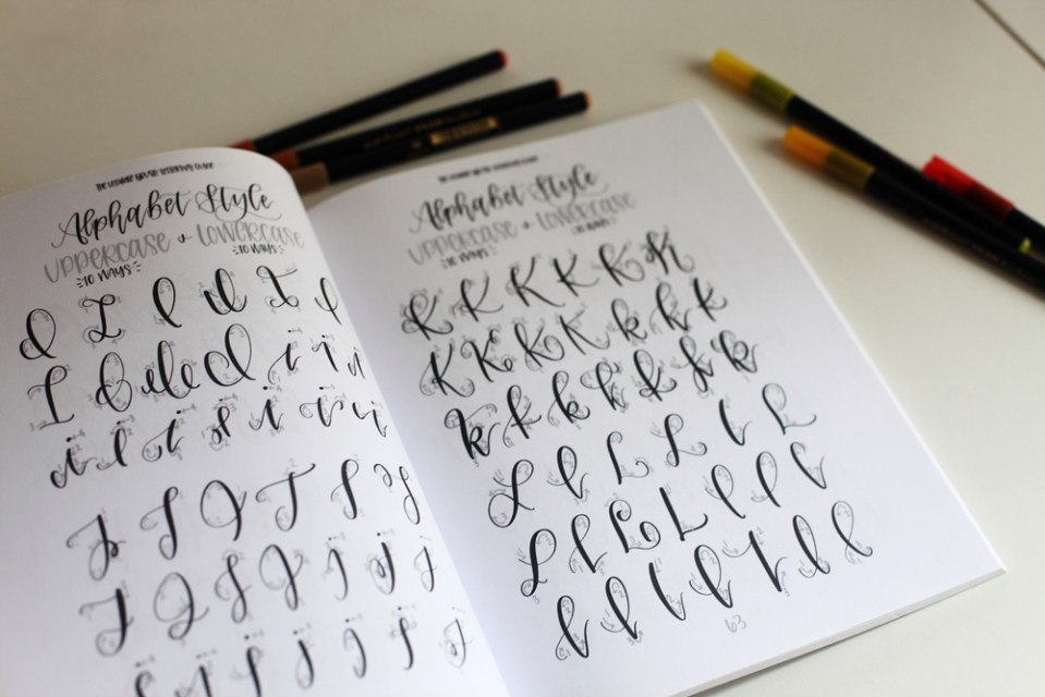 alphabet brush lettering