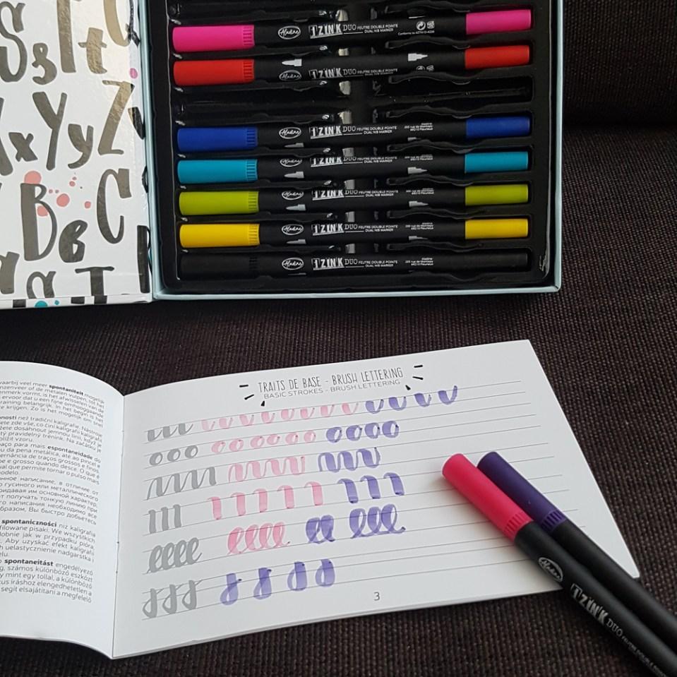 test du kit brush lettering Aladine
