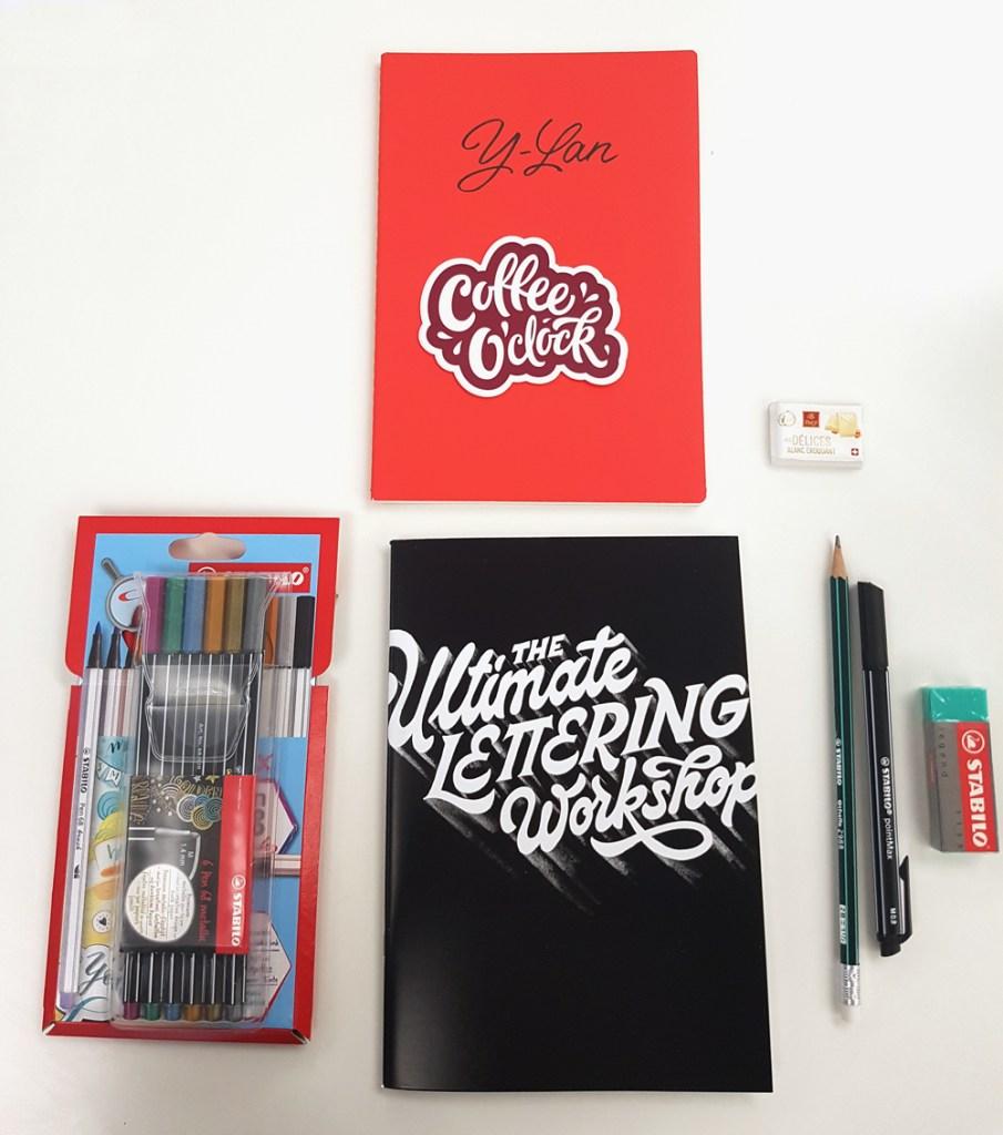 """Le matériel fourni à l'atelier lettering de Stefan Kunz """"the Ultimate Lettering Workshop"""""""