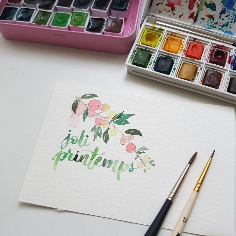dessin et lettering à l'aquarelle