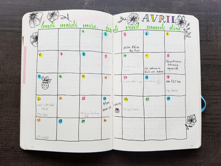 Bullet Journal - Monthly Avril 2020