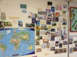 Postcards in the classroom - cards from around the world showing map