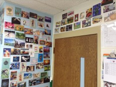 Postcards in the classroom - postcards surrounding classroom door