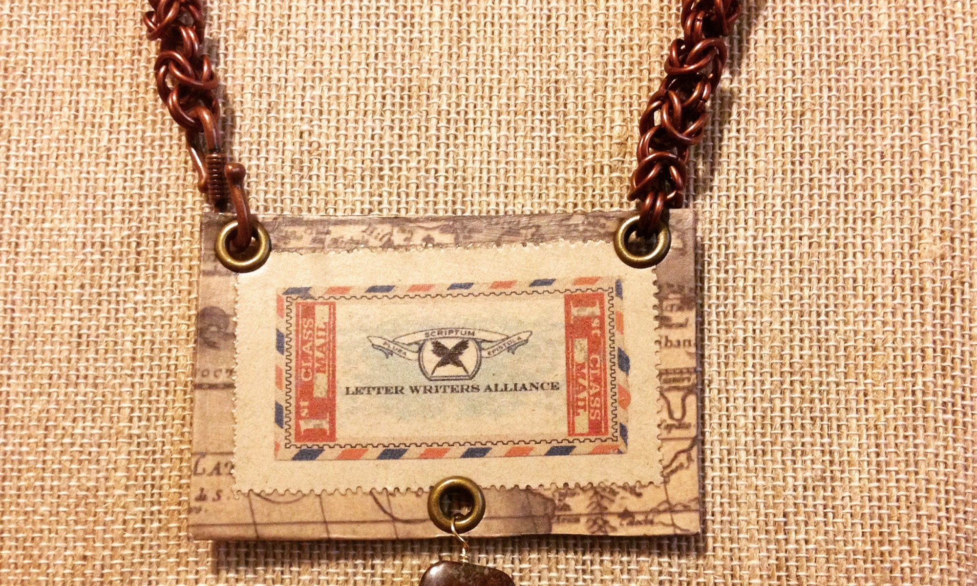 Letter Writers Alliance stap necklace
