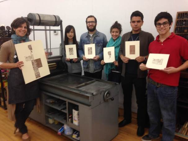 """Showcasing their individual prints and the collective """"collage"""" of their blocks."""