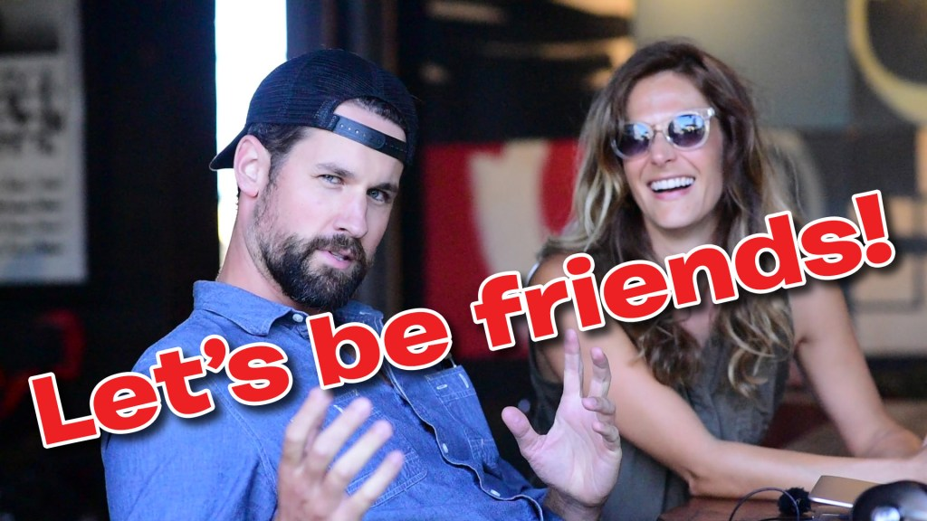 """Clancy & Lauren at Deus Ex Machina in Venice, CA, with the superimposed text """"Let's be friends!"""""""