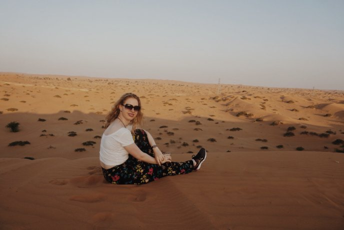 sitting in the desert in the UAE