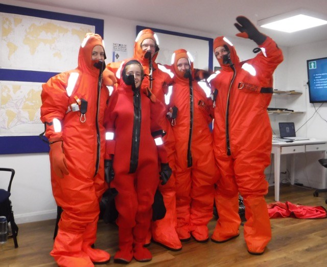 people in water protectant gear during the STCW course