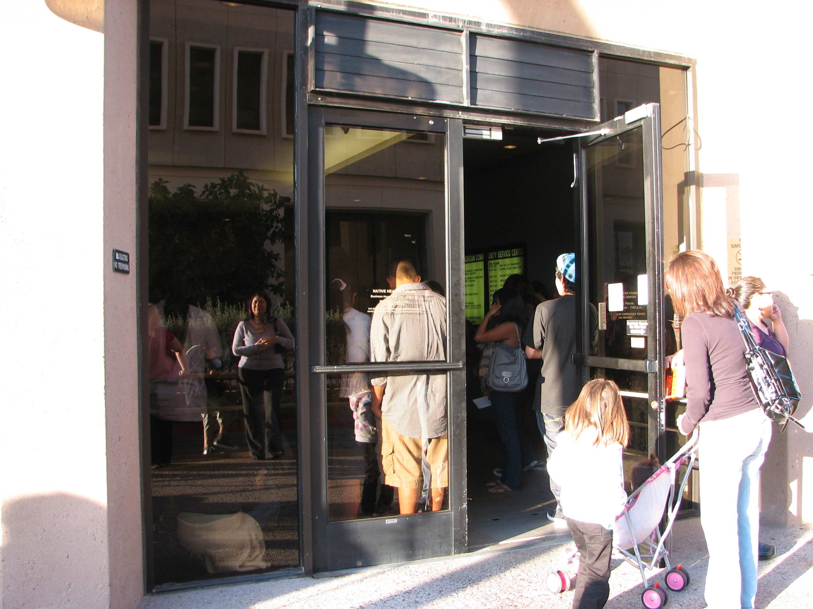 These are the front doors. People are pressed up against the glass. It really was that crowded in there.