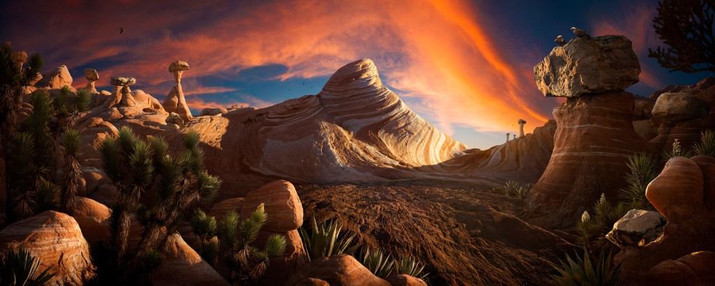 """""""Visions"""", une image panoramique à grande échelle créée en utilisant des images désertiques de cactus, de hoodoos et de formations rocheuses que j'ai photographiées lors de voyages récents dans le sud de l'Utah et dans la Valley of Fire. Avec cette pièce, j'ai voulu expérimenter et amener mon travail dans de nouvelles directions, à la fois techniquement et esthétiquement. Une grande partie de mes travaux passés a exploré la frontière conceptuelle entre la photographie et l'illustration, tirant parti des outils d'imagerie numérique pour créer de nouveaux mondes avec mes photographies. Je suis très fasciné par le terme «réalisme magique», utilisé dans l'art et la littérature pour «représenter une vision réaliste du monde tout en ajoutant ou révélant des éléments magiques». Je voulais intégrer ce concept dans mes images, et dépeindre des scènes d'un autre monde inspirées de la science-fiction et de la mythologie. Pour ce projet, mon objectif était de pousser cette idée encore plus loin et de créer un travail encore plus surréaliste qui défie les perceptions photographiques de la réalité par rapport à l'illusion. Nick Pedersen"""