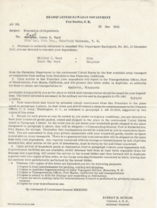 Pearl Harbor Evacuation Order