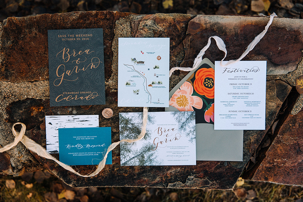 Example of wedding invitation details card for a Colorado wedding