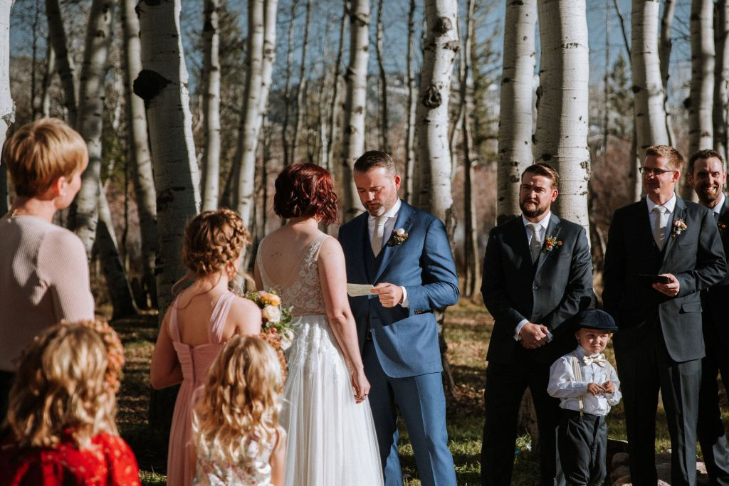 Couple saying vows marrying yourself in Colorado