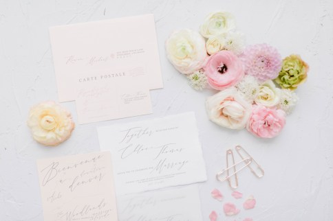 wedding stationery invitation suite for a vintage french wedding