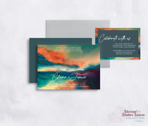 Artistic and colorful mountain wedding invitation