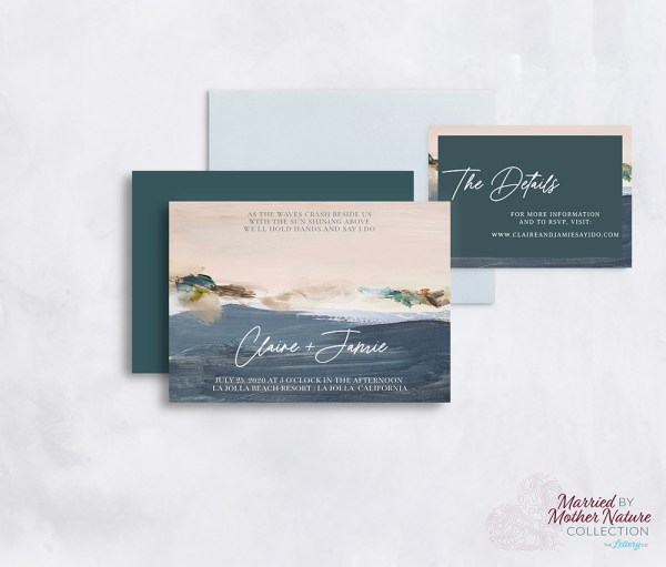 Artistic and colorful beach wedding invitation