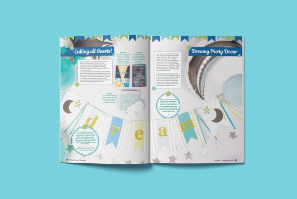 Layout of ideas for a children's sleep-under birthday party theme including custom invitations