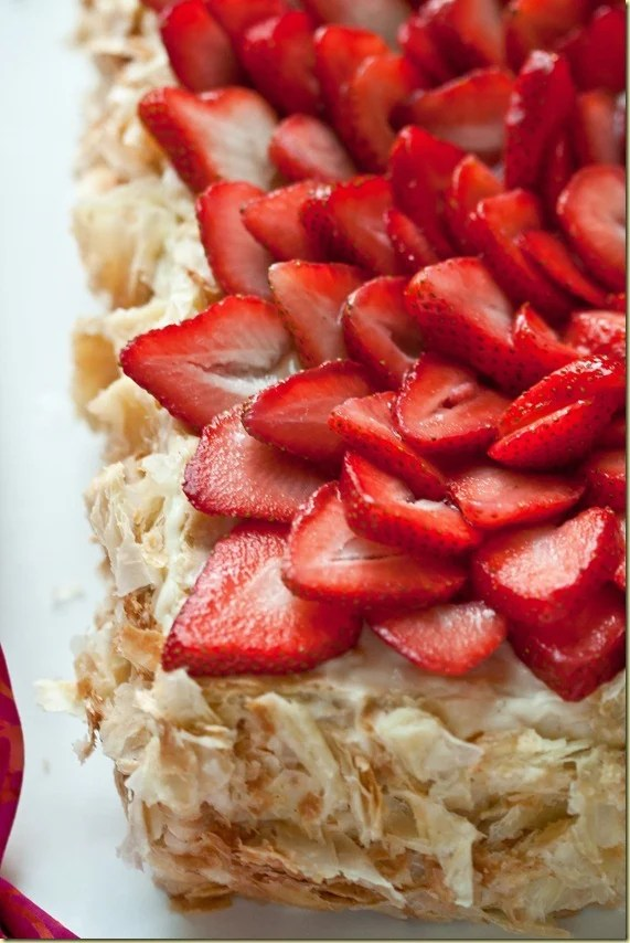 """Napoleon"" Cake & Pastry Cream topped with fresh strawberries."
