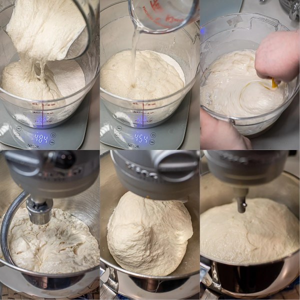 Step by step pictures for making the baguette dough.