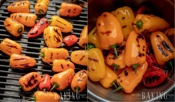 How to grill bell peppers and place them in a bowl.