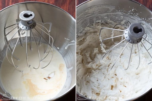 How to mix together ingredients for the cream filling in a mixing bowl.