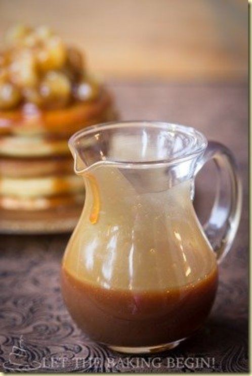 Homemade caramel sauce in a glass container.