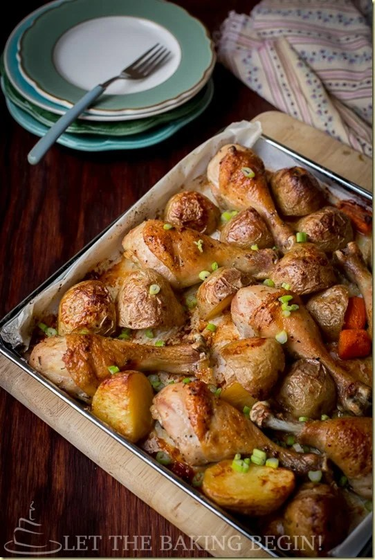 One Pan Meal of Baked Chicken and Potatoes is all made on one sheet pan with carrots, which makes dinner prep a breeze. Chicken drumsticks are baked with garlic, paprika and olive oil. Comforting 'Meat & Potatoes' dinner that takes only 10 minutes of prep, and is all done in one baking dish? Win-win