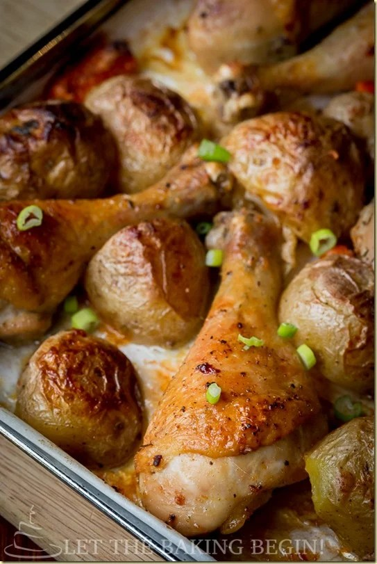 One Pan Meal , Baked Chicken and Potatoes , Let the Baking